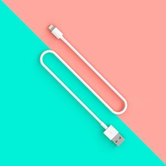 Белый usb-кабель на двухцветном