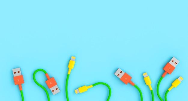 Плоские кабели в стиле usb, имитирующие стилизованные цветы.