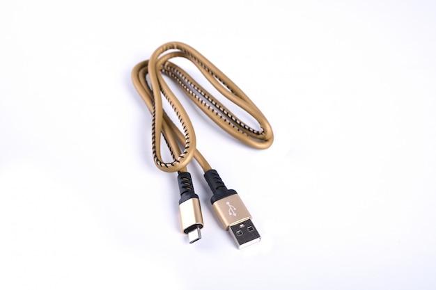 Сложенный заряд молнии usb смартфон смартфон золотой кабель изолирован