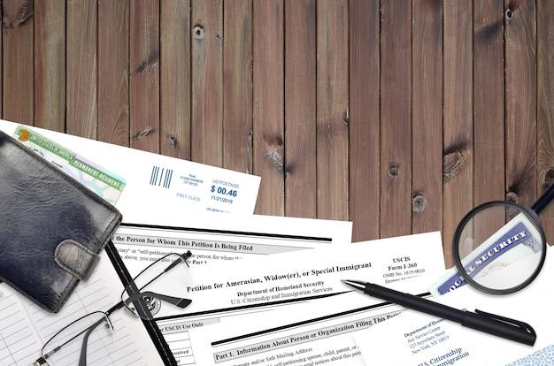 미국, 미망인 또는 특별 이민자를위한 uscis 양식 i-360 청원서
