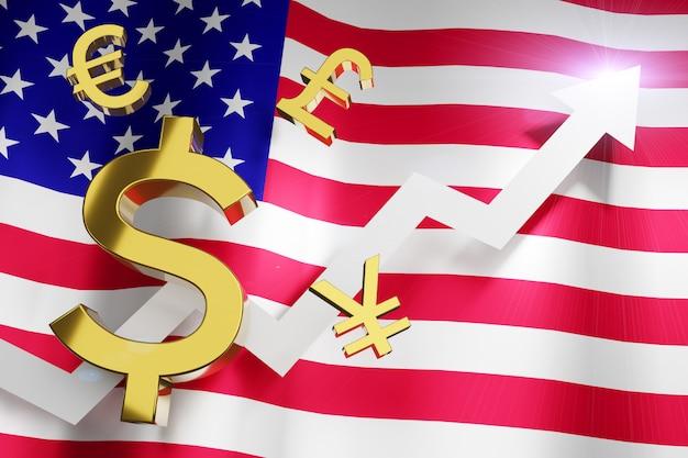 Валюта доллара сша usd с обменным курсом денег национального флага соединенных штатов америки растет поднимающ вверх концепцию дела финансовую, перевод 3d.