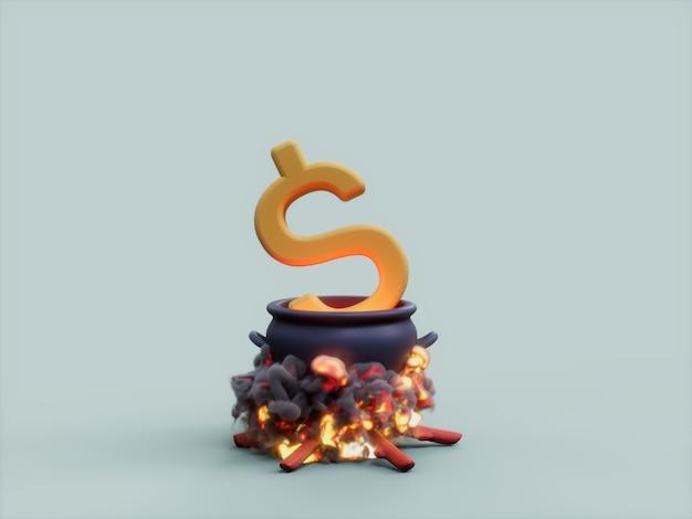 Usd 가마솥 화재 요리사 통화 3d 그림 렌더링