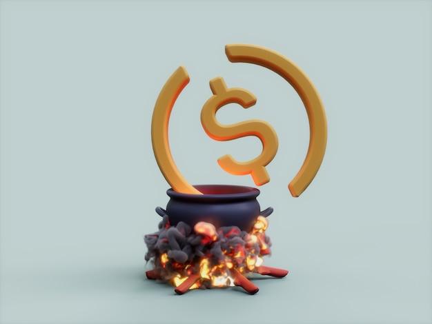 Usdc 가마솥 화재 요리사 암호화 통화 3d 그림 렌더링