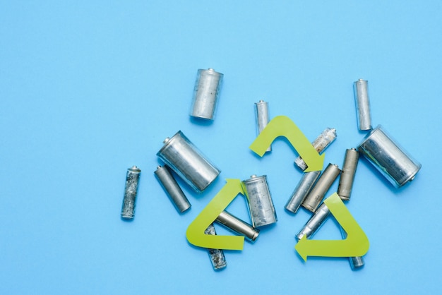 Use aa and properly dispose of batteries that are toxic to the environment and soil against a green background