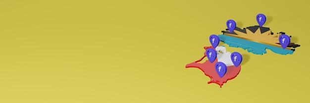 3dレンダリングのインフォグラフィックのためのアンティグアバーブーダでのソーシャルメディアfacebookの使用と配布