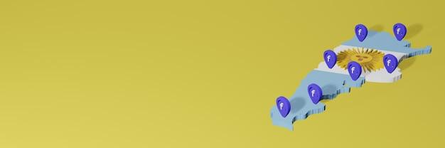 Использование и распространение социальной сети facebook в аргентине для создания инфографики в 3d-рендеринге