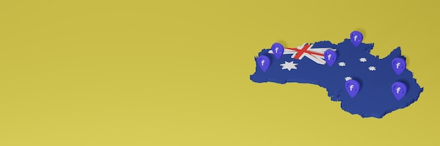 3dレンダリングのインフォグラフィックのためのオーストラリアでのソーシャルメディアfacebookの使用と配布