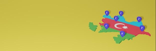 3dレンダリングのインフォグラフィックのためのアゼルバイジャンでのソーシャルメディアfacebookの使用と配布