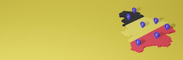 3d 렌더링의 인포 그래픽을위한 belgia의 소셜 미디어 facebook 사용 및 배포
