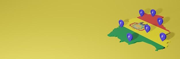 3dレンダリングのインフォグラフィックのためのボリビアのソーシャルメディアfacebookの使用と配布