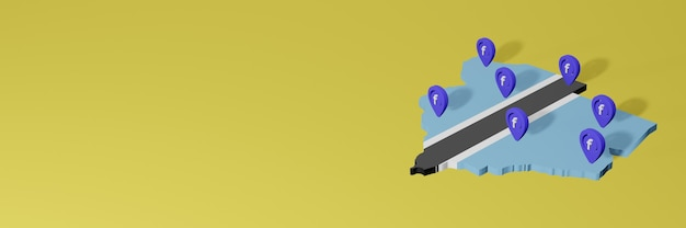 3d 렌더링에서 인포 그래픽을위한 보츠와나의 소셜 미디어 facebook 사용 및 배포