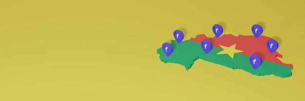 3d 렌더링의 인포 그래픽을위한 부르 키나 파소의 소셜 미디어 facebook 사용 및 배포
