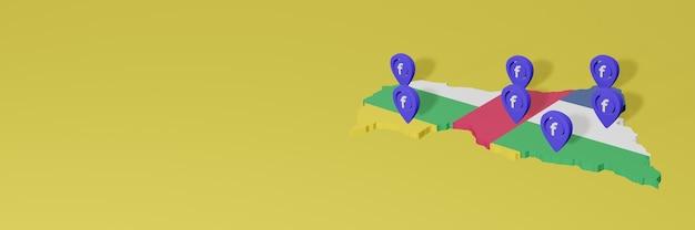 Использование и распространение социальной сети facebook в центральноафриканской республике для создания инфографики в 3d-рендеринге