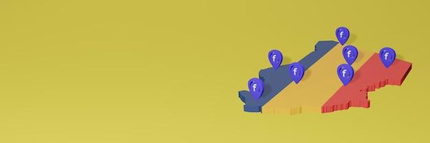 3dレンダリングのインフォグラフィックのためのチャドでのソーシャルメディアfacebookの使用と配布