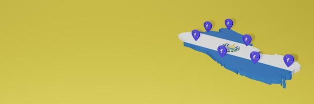 3dレンダリングのインフォグラフィックのためのエルサルバドルでのソーシャルメディアfacebookの使用と配布