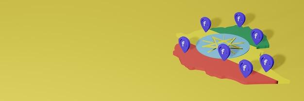 3dレンダリングのインフォグラフィックのためのエチオピアでのソーシャルメディアfacebookの使用と配布