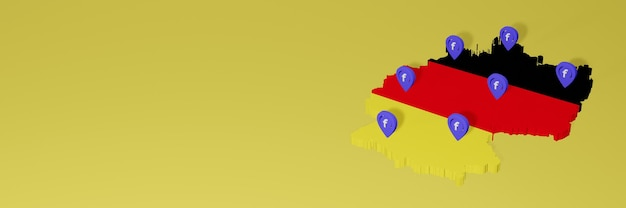 3d 렌더링의 인포 그래픽을위한 독일의 소셜 미디어 facebook 사용 및 배포