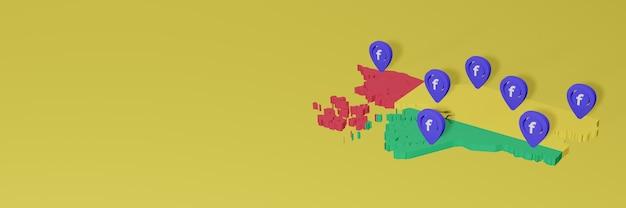 3d 렌더링의 인포 그래픽을위한 기니 비사우의 소셜 미디어 facebook 사용 및 배포