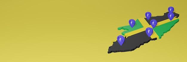 3dレンダリングのインフォグラフィックのためのジャマイカのソーシャルメディアfacebookの使用と配布