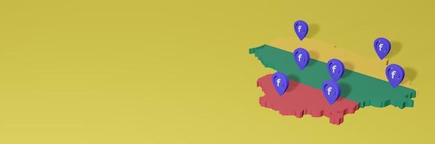 3dレンダリングのインフォグラフィックのためのリトアニアのソーシャルメディアfacebookの使用と配布