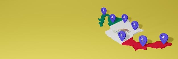 3dレンダリングのインフォグラフィックのためのメキシコでのソーシャルメディアfacebookの使用と配布