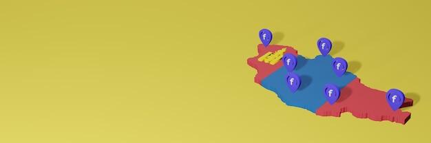 3dレンダリングのインフォグラフィックのためのモンゴルでのソーシャルメディアfacebookの使用と配布
