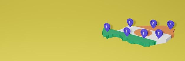 3d 렌더링의 인포 그래픽을위한 니제르의 소셜 미디어 facebook 사용 및 배포