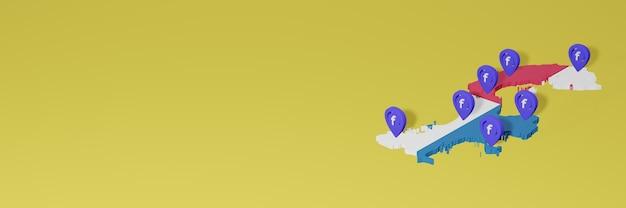 3dレンダリングのインフォグラフィックのためのパナマでのソーシャルメディアfacebookの使用と配布