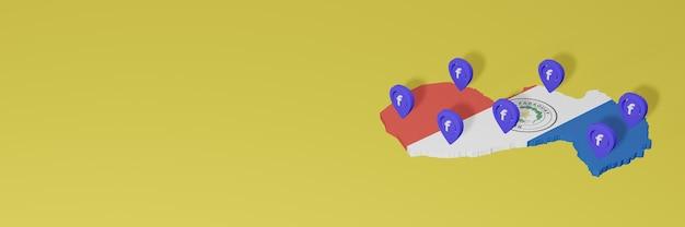 3dレンダリングのインフォグラフィックのためのパラグアイでのソーシャルメディアfacebookの使用と配布