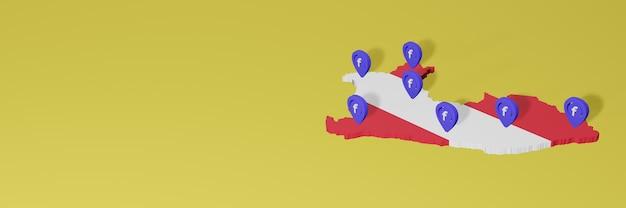 3dレンダリングのインフォグラフィックのためのペルーのソーシャルメディアfacebookの使用と配布