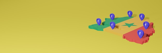 Использование и распространение социальной сети facebook в сенегале для создания инфографики в 3d-рендеринге