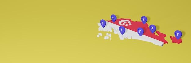 Использование и распространение социальной сети facebook в сиангапуре для создания инфографики в 3d-рендеринге