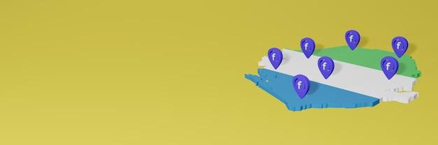 Использование и распространение социальной сети facebook в сира-леоне для создания инфографики в 3d-рендеринге