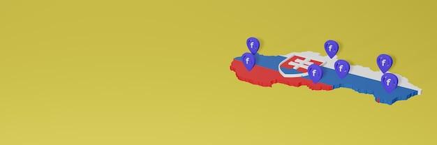 3dレンダリングのインフォグラフィックのためのスロバキアのソーシャルメディアfacebookの使用と配布