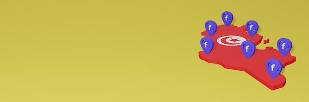 3dレンダリングのインフォグラフィックのためのチュニジアでのソーシャルメディアfacebookの使用と配布