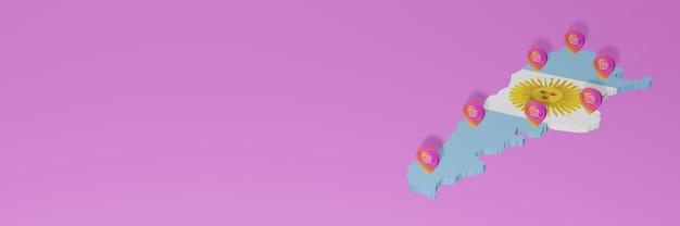 아르헨티나의 소셜 미디어 instagram의 3d 렌더링의 인포 그래픽 사용 및 배포