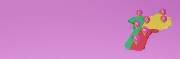 3dレンダリングのインフォグラフィックのためのベニンでのソーシャルメディアinstagramの使用と配布