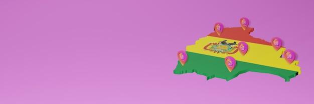 3dレンダリングのインフォグラフィックのためのボリビアのソーシャルメディアinstagramの使用と配布