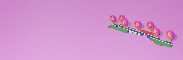 3d 렌더링의 인포 그래픽을위한 감비아의 소셜 미디어 instagram 사용 및 배포