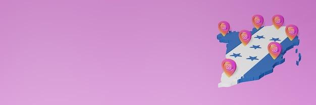 3dレンダリングのインフォグラフィックのためのホンジュラスでのソーシャルメディアinstagramの使用と配布