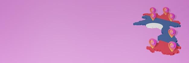 3dレンダリングのインフォグラフィックのためのラオスでのソーシャルメディアinstagramの使用と配布