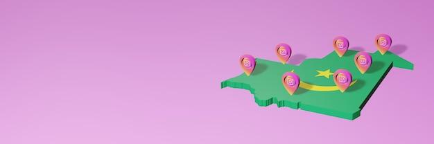 3d 렌더링의 인포 그래픽을위한 모리타니의 소셜 미디어 instagram 사용 및 배포