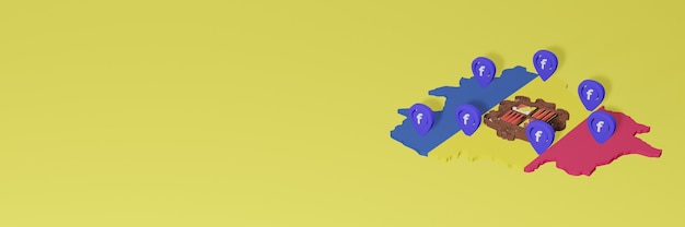 Use and distribution of social media facebook in andora for infographics in 3d rendering