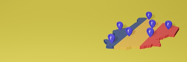 Use and distribution of social media facebook in chad for infographics in 3d rendering