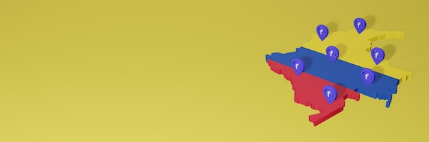 Use and distribution of social media facebook in colombia for infographics in 3d rendering