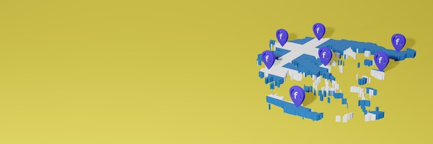 Use and distribution of social media facebook in greece for infographics in 3d rendering