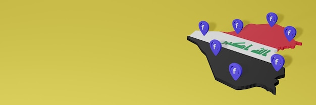 Use and distribution of social media facebook in iraq for infographics in 3d rendering