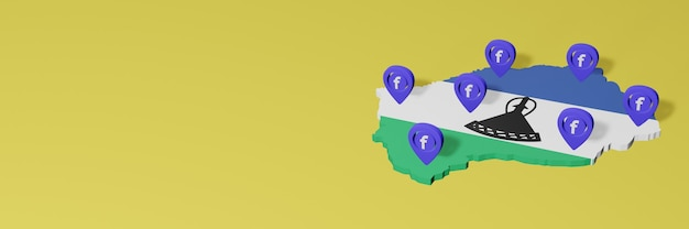 Use and distribution of social media facebook in lesotho for infographics in 3d rendering