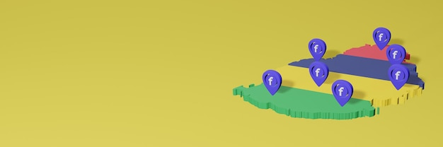 Use and distribution of social media facebook in mauritius for infographics in 3d rendering
