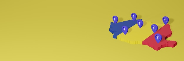 Use and distribution of social media facebook in romania for infographics in 3d rendering
